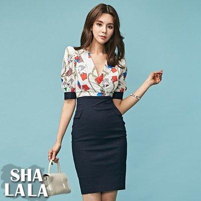 SHA LA LA 莎菈菈 韓版氣質V領印花拼接性感包臀短袖連衣裙洋裝(S~XL)2019050218預購款