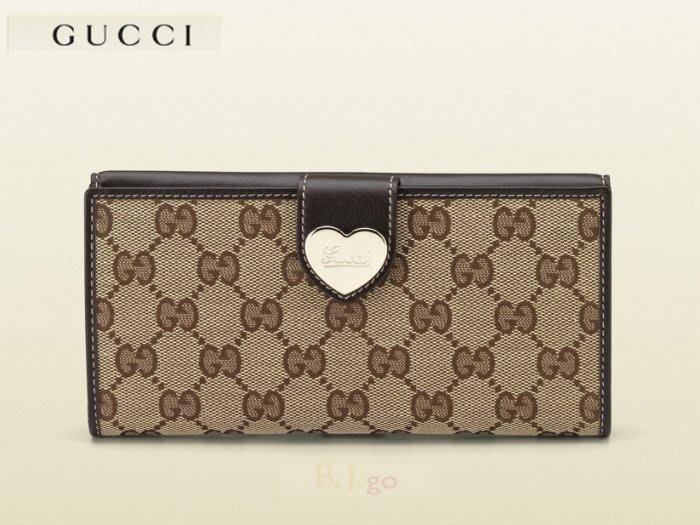 【BJ.GO】GUCCI heart continental wallet 愛心雙面釦式長夾 203550 官網新品