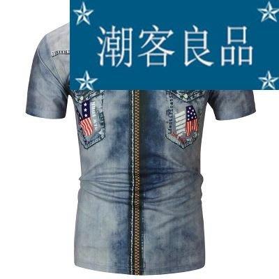 【潮客良品】~新款夏裝印花牛仔短袖恤衫 時尚潮款青少年歐碼恤男 熱賣cklp6510