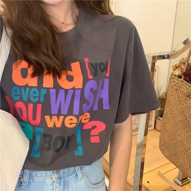 FINDSENSE G6 韓國時尚潮流 2019夏季新款寬鬆百搭字母印花圓領T恤打底短袖T恤