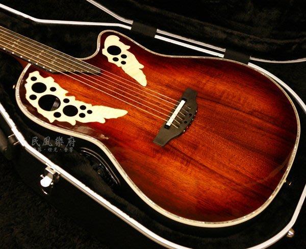 《民風樂府》韓廠 Ovation Elite Plus KOA 2078AXP-KOA 相思木 葡萄孔圓背吉他