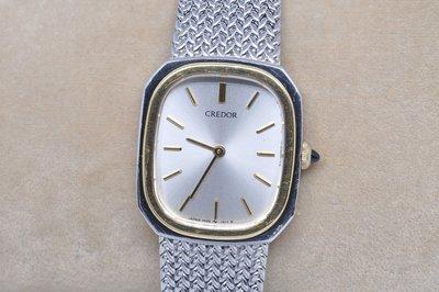 《寶萊精品》CREDOR 貴朵銀白方圓型石英女子錶