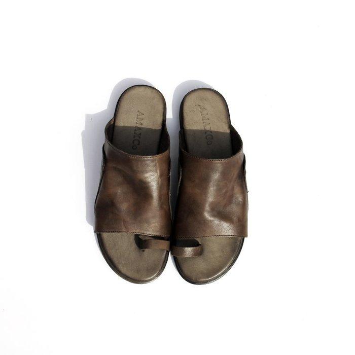 *菇涼家*原创18新款夏凉拖鞋女平底復古時尚百搭凉鞋真皮外穿懒人鞋