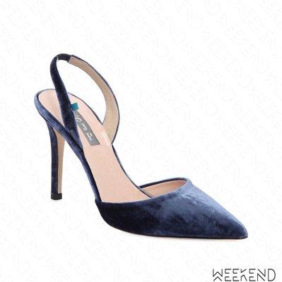 【WEEKEND】 Sarah Jessica Parker SJP Bliss 絲絨 鑲鑽 高跟鞋 露跟鞋 藍色