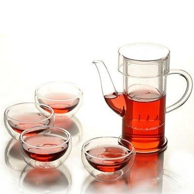 5Cgo【茗道】含稅會員有優惠12769666679 手工玻璃茶具整套耐熱花茶壺功夫茶具簡約大方250ml 一壺四杯