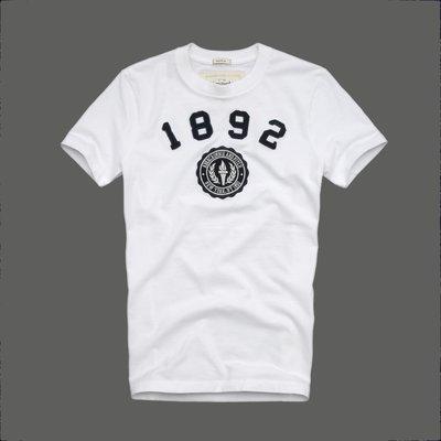 🇺🇸 Abercrombie & Fitch  男 圓領刺繡貼布 白 短袖T恤 (XL) by A&F