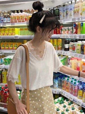 短袖T 春夏韓版寬鬆短袖T恤女白色ins上衣學生蕾絲V領打底衫潮 -百利