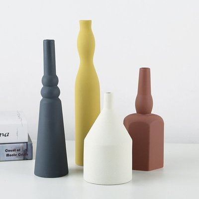 熱賣莫蘭迪色現代北歐ins陶瓷干花花瓶 創意客廳電視柜插花裝飾擺件#擺件#陶瓷#北歐