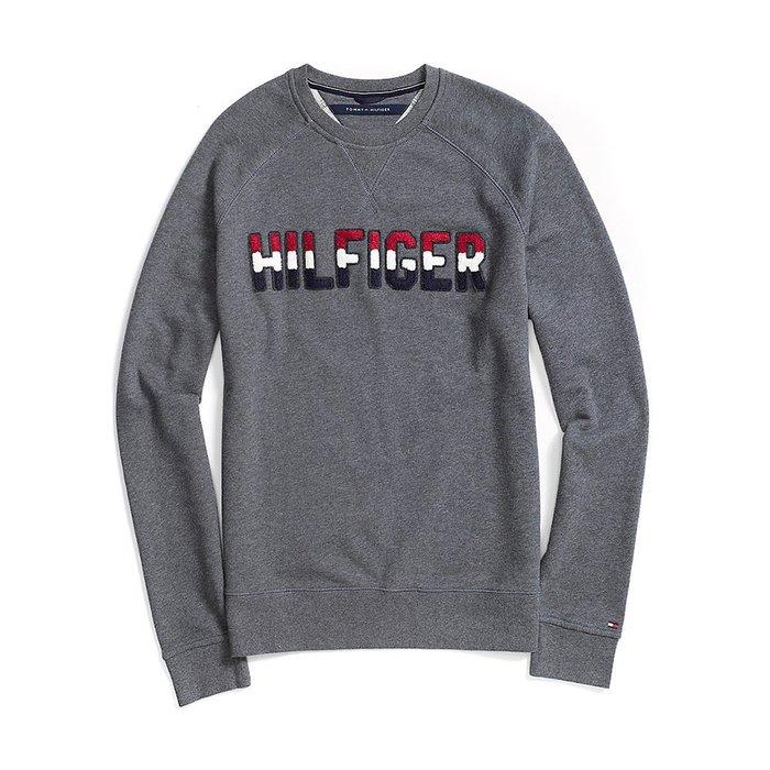 美國百分百【全新真品】Tommy Hilfiger 大學T 圓領 T恤 長袖 TH logo 鐵灰 XS號 H421