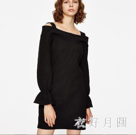 中大尺碼一字肩洋裝秋冬季修身顯瘦連衣裙YV10S7BN2003sd3139