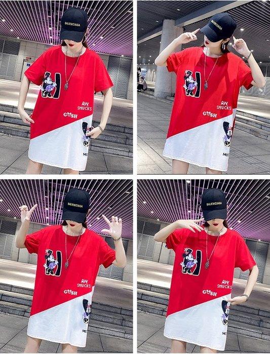 FINDSENSE G6 韓國時尚潮流 歐貨大尺碼T恤短袖短T2019夏裝中長款下身失踪半袖上衣圓領T恤