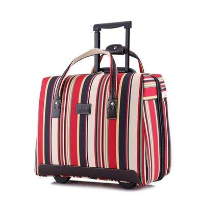 超輕便手提旅行拉桿包條紋牛津布男女旅遊...