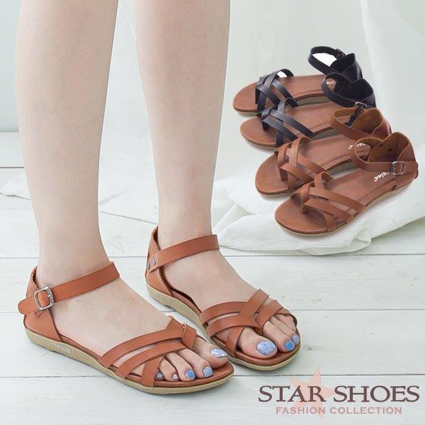 STAR SHOES-超軟Q舒適款~雙交叉夾腳環裸包跟涼鞋#3885
