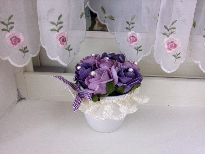 粉紅玫瑰精品屋~紫色玫瑰蕾絲擺飾花藝~