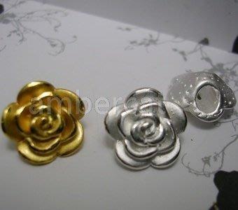 琥珀貓~【990純銀材料配件】造型珠~A0346款~玫瑰~一個