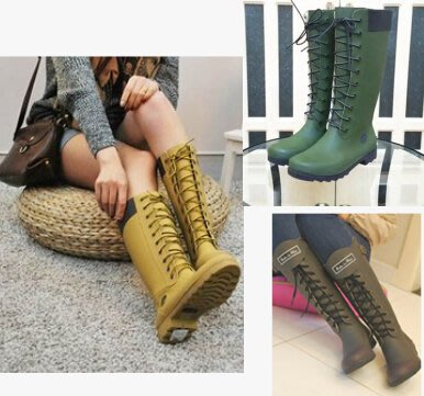 雨鞋雨靴女時尚韓國系帶高筒天然橡膠水鞋膠鞋馬丁鞋顯瘦