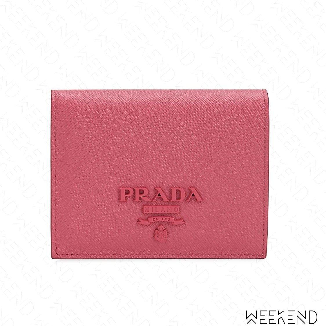 newest 133a1 186b1 WEEKEND】 PRADA Saffiano Logo 小款皮革皮夾卡夾短夾零錢包全 ...
