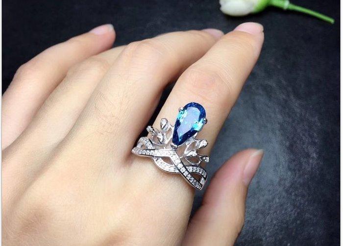 天然藍拓帕石 倫敦藍拓帕石 (頭等艙精品)925純銀鑲鑽戒指镀白金活口戒指 現貨庫存 不用等