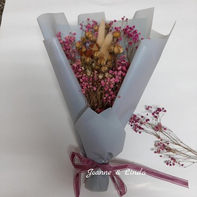 Joanne&Linda乾燥迷你玫瑰花 花束尺寸約長30×寬20公分