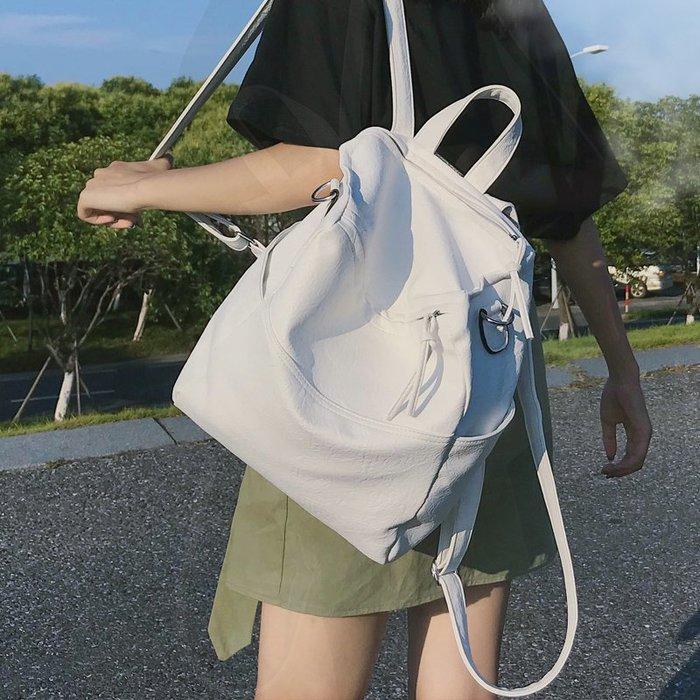 FuNFang_百搭簡約純色方形軟皮後背包*4色