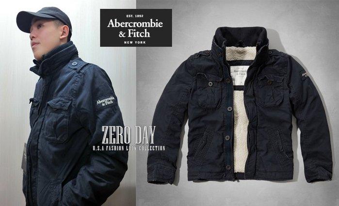 【零時差美國時尚網】A&F Abercrombie&Fitch Blake Peak Jacket熊寶寶毛深藍保暖軍外套