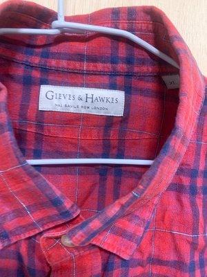 Gives&hawkes 短袖 格紋 麻質 襯衫 XL