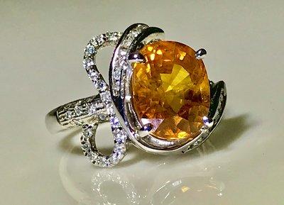 【艾琳珠寶藝術】已售出,高級美品,5.20ct,天然錫蘭黃色藍寶石鑽戒,火光閃爍,附證書,已售出