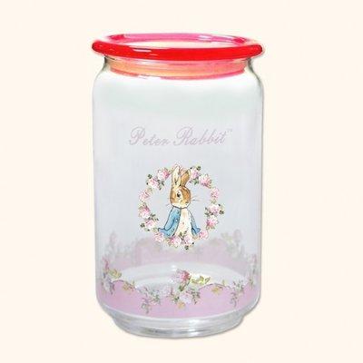 比得兔玫瑰彩蓋密封罐750ML彼得兔玫瑰花塑蓋密封罐收納罐玻璃圓形甜點盒咖啡豆置物調味罐餐具糖果盒餐具【玫瑰物語】
