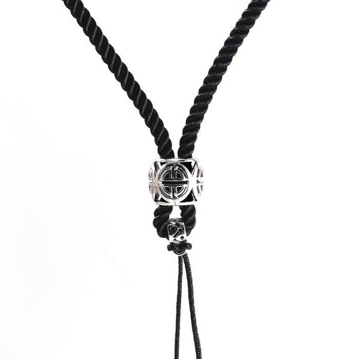 Lissom韓國代購~可調節編織項鍊繩手工琥珀玉佩蜜蠟男女吊墜掛繩紅黑繩子毛衣鍊