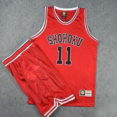SD灌籃高手球衣隊服湘北11號流川楓籃球衣背心籃球服套裝訓練紅色