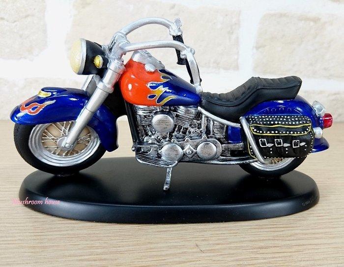 點點蘑菇屋 歐洲精品復古紅色火焰古典哈雷機車擺飾 摩托車模型 現貨