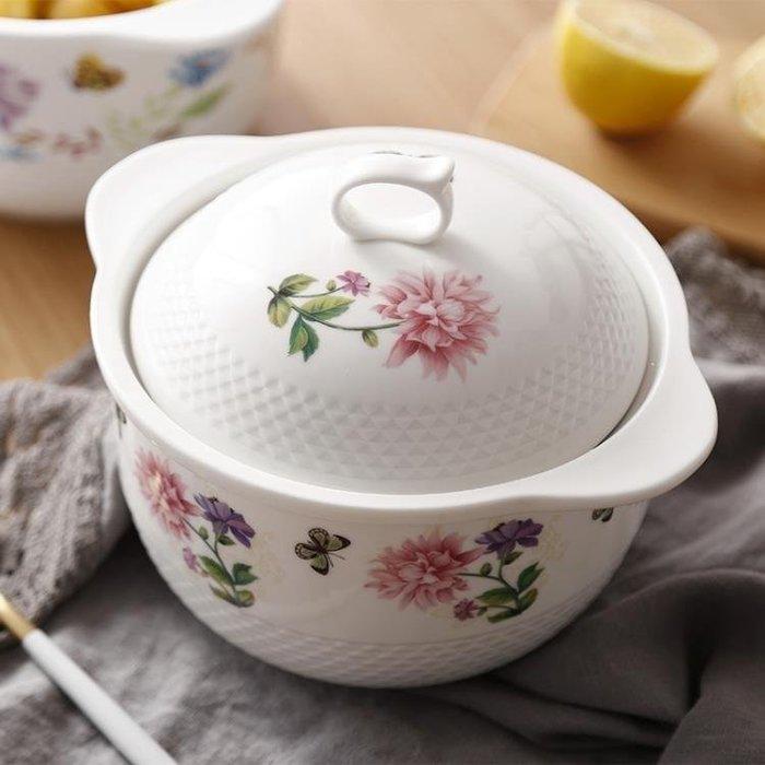 YEAHSHOP 陶瓷雙耳湯碗帶蓋可愛泡面碗家用大號~Y185