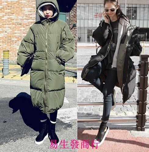 【易生發商行】韩国代购冬装韩版中长款宽松修身羽绒棉衣棉服女大码外套加F6358