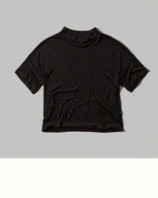 Maple麋鹿小舖 Abercrombie&Fitch * AF 黑色素面短版上衣*( 現貨XS號 )