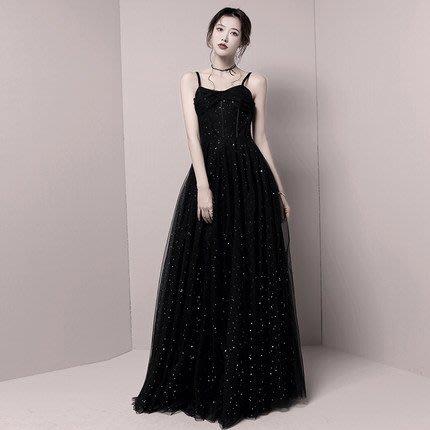 妞妞 婚紗禮服~外拍黑色細肩帶婚紗婚紗宴會婚纱長禮服~3件免郵