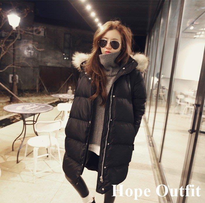韓國東大門新款 80%白鴨絨  中長版羽絨外套 真貉子毛領 防風防沾絨  羽絨外套 韓版外套 羽絨外套 羽絨衣 雪衣