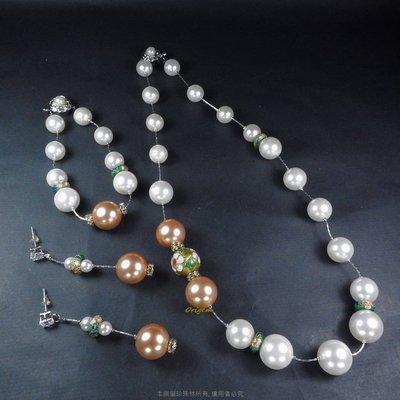 珍珠林~特別設計限量款~14MM硨磲貝珍珠搭配手工景泰藍耳環 #947