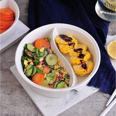 陶瓷分隔碗-雙格陶瓷碗 水果沙拉碗 分隔圓碗 太極碗 微波爐專用碗 分隔盤(7英寸)[好餐廳_SoGoods優購好]