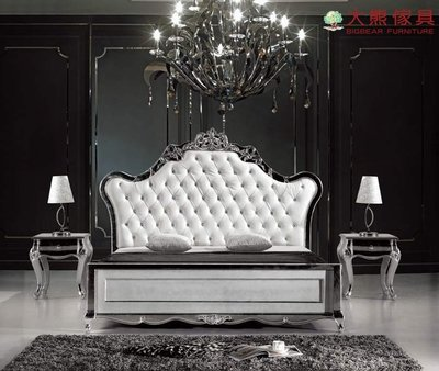 【大熊傢俱】8030 新古典 雙人床 床台 六尺床 公主床 歐式 法式 皮床