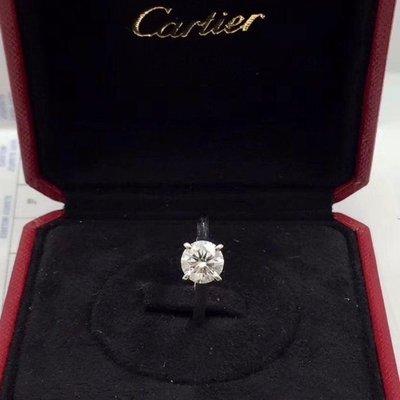 專櫃正品 CARTIER 卡地亞 18K白金 1.6克拉 G VS1 3EX 鑽石戒指(特價福利品!優惠出清換現金)