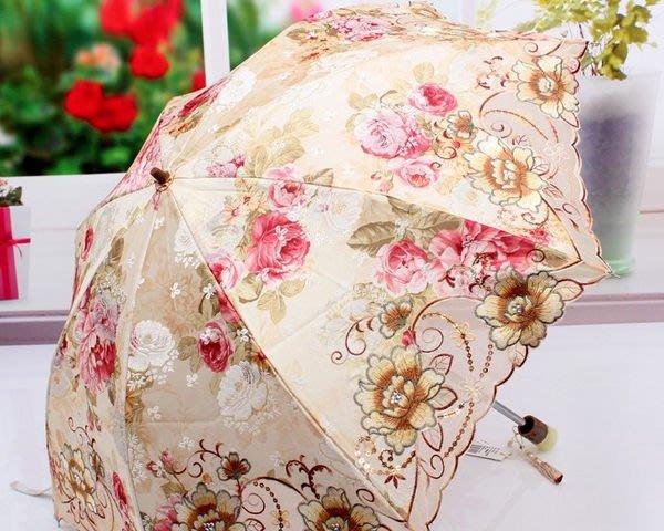 5Cgo 【鴿樓】會員優惠 15857232889 韓國洋傘 高檔加厚面料二折防曬太陽傘 防紫外線繡花刺繡傘