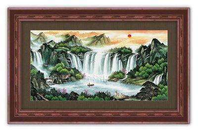 四方名畫:山水畫48X65CM 164 C中尺寸 名家水墨畫 聚財圖 複製油畫  畫質色彩細緻 裝飾畫MIT可訂製尺寸