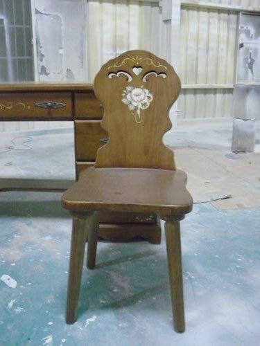 美生活館-全實木鄉村彩繪家具-普羅旺斯彩繪溫馨玫瑰餐椅--可訂銅柚/白/柚木/胡桃等色