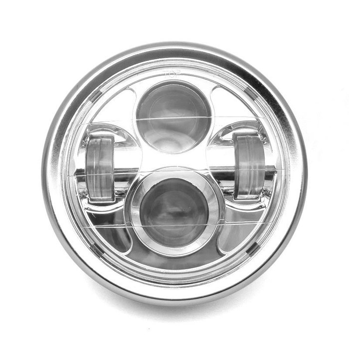 摩托車改裝配件哈雷巡航太子國產車改裝復古圓金屬LED 通用前大燈