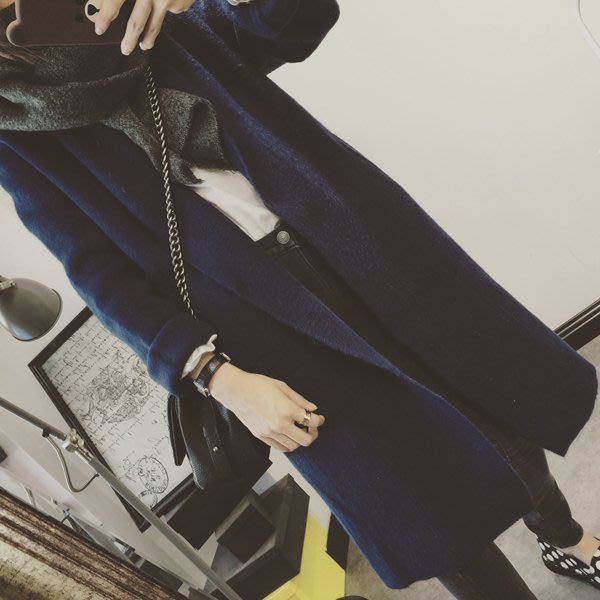 CHERRY LALA  韓國單高品質經典大翻領羊絨長版大衣-YN09221   內搭 高領 圍巾 保暖 免郵