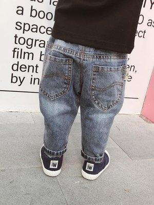 【蘑菇小隊】男童春秋加絨牛仔褲韓版新生兒抓絨長褲嬰兒褲寶寶加厚保暖牛仔褲-MG17830