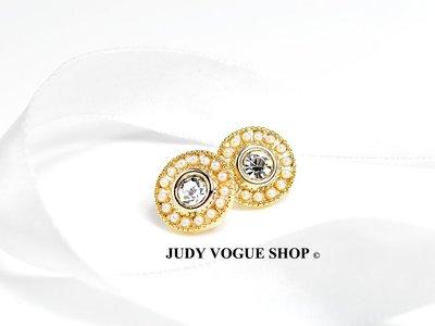 韓國 甜蜜佳人簍空珍珠耳環 珍珠鋯石耳環 奢華絢麗 JUDY VOGUE SHOP【JES-0008】