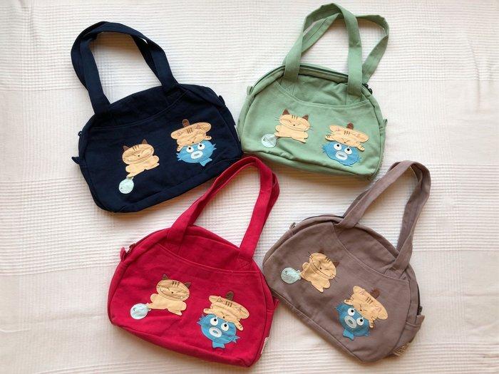 日本卡拉貓~虎斑貓咪小河豚防水側背包
