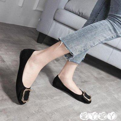豆豆鞋 蛋卷鞋女春秋季黑色平底工作網紅單鞋百搭晚晚孕婦豆豆鞋
