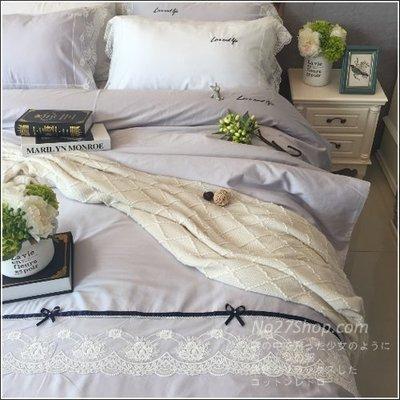 Mocha日系L‧宜居家飾品歐美英法式公主奢華蝴蝶結蕾絲拼接60支精梳貢緞純全棉枕頭+雙面被套+雙人標準&加大通用寢具四件組-床包款551406004563